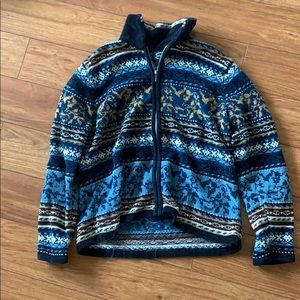 Vintage Blue Patterned Sweater (Zip-Up)